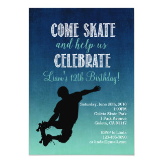 Skateboard Birthday Party Invitation