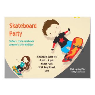 Skateboard Birthday Party Orange Card