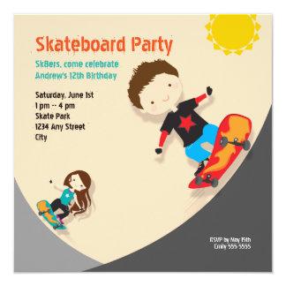 Skateboard Birthday Party Orange Neutral Card