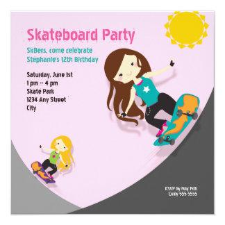 Skateboard Birthday Party Pink Card