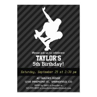 Skateboard; Black & Dark Gray Stripes 5x7 Paper Invitation Card