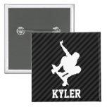 Skateboard; Black & Dark Gray Stripes 2 Inch Square Button