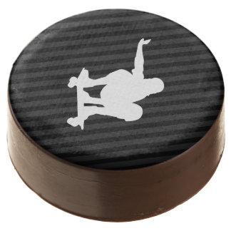 Skateboard; Black & Dark Gray Stripes Chocolate Dipped Oreo