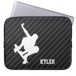 Skateboard; Black & Dark Gray Stripes Computer Sleeves