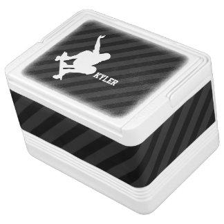 Skateboard; Black & Dark Gray Stripes Drink Cooler