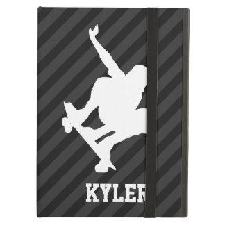 Skateboard; Black & Dark Gray Stripes iPad Air Covers