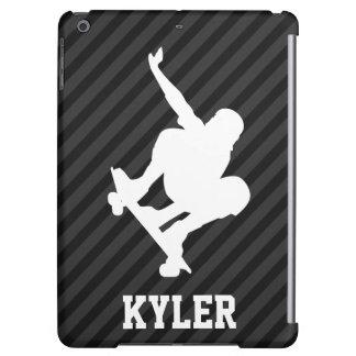 Skateboard; Black & Dark Gray Stripes iPad Air Cover