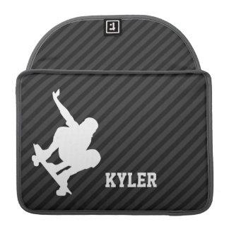 Skateboard; Black & Dark Gray Stripes MacBook Pro Sleeves