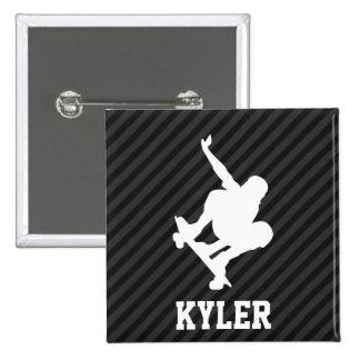Skateboard; Black & Dark Gray Stripes Pinback Button