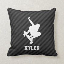Skateboard; Black & Dark Gray Stripes Throw Pillow