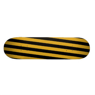 Skateboard - Black & Goldenrod Diagonal Stripes