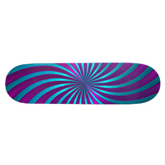 Skateboard  blue and pink spiral vortex
