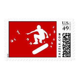 skateboard. board with birds. postage