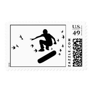 skateboard. board with birds. postage stamp