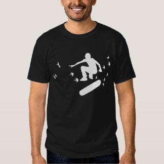 skateboard. board with birds. white. t-shirt