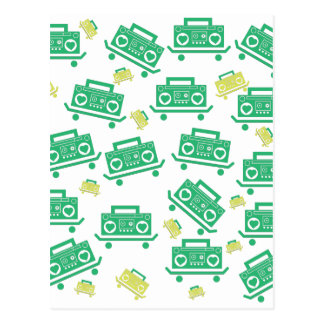 Skateboard boombox with hearts as speakers pattern postcard