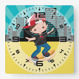 Skateboard boy - choose your background color square wall clock
