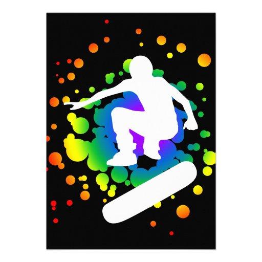 skateboard bubbles personalized invitation