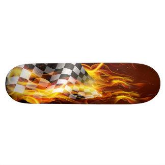 skateboard-checkered flag on fire skateboard