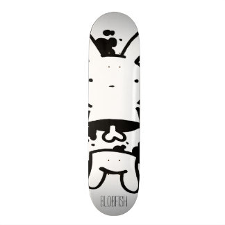 skateboard deck design with black&white bunny