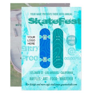 Skateboard Event Advertisement add photo and logo Card