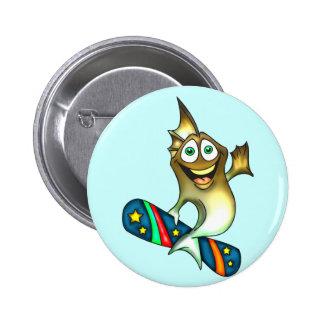 Skateboard Fish 2 Inch Round Button