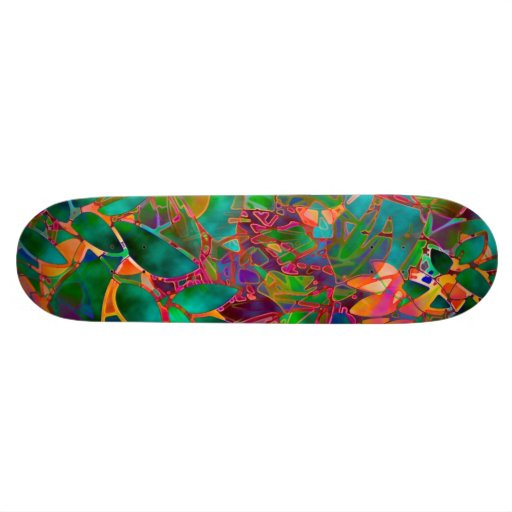 Skateboard Floral Abstract Stained Glass
