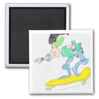 skateboard gnome boy 2 inch square magnet