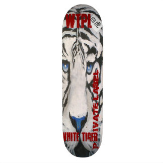 Skateboard graphic with a white tiger/red letters.