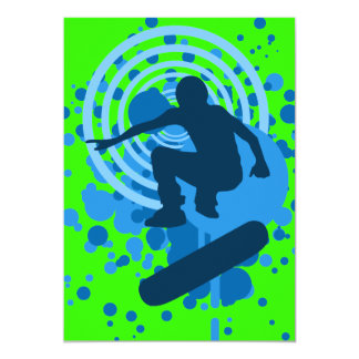 skateboard hi-fi bubbles 5x7 paper invitation card