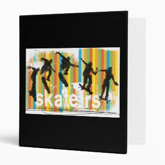 Skateboard Jump Sequence Orange Stripes 3 Ring Binder