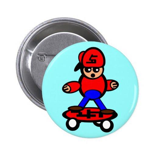 Skateboard Kid Pinback Button