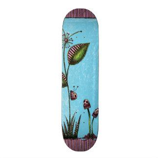 Skateboard, Ladybug Flower Mushrooms Skateboard Deck
