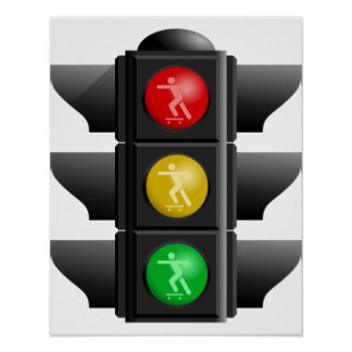 Skateboard Land Rec Traffic Signal Poster
