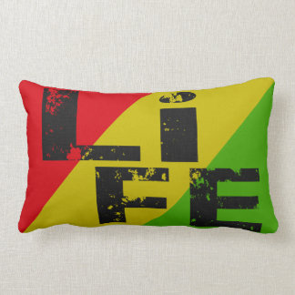 Skateboard Life Throw Pillow Rasta Red Gold Green