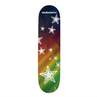 Skateboard Multicolor Stars Stripes Cubebric