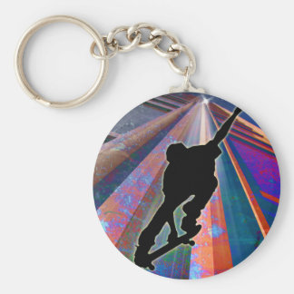 Skateboard on a Building Ray Keychains