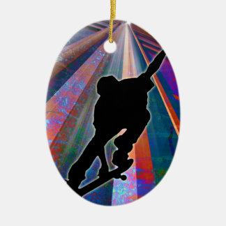 Skateboard on a Building Ray Christmas Tree Ornaments