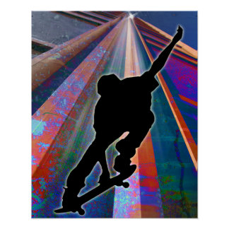 Skateboard on a Building Ray Poster