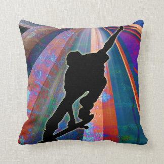 Skateboard on a Building Ray Throw Pillow