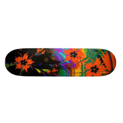 Skateboard OrangeTropical Flowers Skate Deck