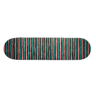 Skateboard, Painted Stripes, Teal and Orange Skateboard