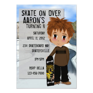 Skateboard Party Card