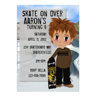 Skateboard Party Personalized Announcement