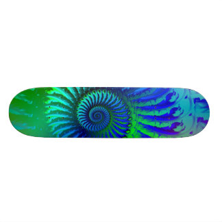 Skateboard - Psychedelic Fractal blue terquoise
