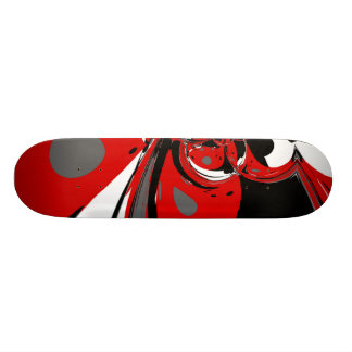 Skateboard Red Black White Abstract