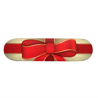 Skateboard - Red Bow & Ribbon on Gold