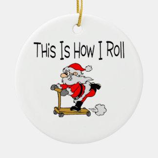 Skateboard Santa Christmas Tree Ornament