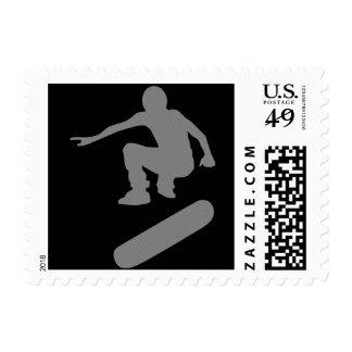skateboard silhouette postage stamp