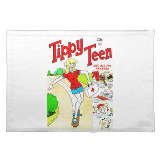 Skateboard Teen Girl Cartoon Cloth Place Mat